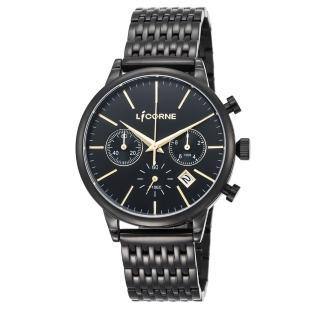 【LICORNE】力抗 撼動系列 經典時尚風格三眼計時手錶(黑金/黑 LI097MBBI)   LICORNE
