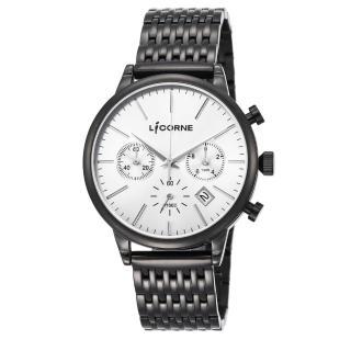 【LICORNE】力抗 撼動系列 經典時尚風格三眼計時手錶(銀/黑 LI097MBWI)   LICORNE