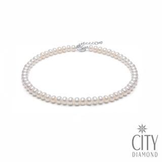 【City Diamond 引雅】天然扁圓淡水珍珠6-7m項鍊(熱銷NO.1)  City Diamond 引雅