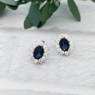 【DoriAN】燦爛藍鑽太陽花925純銀耳環(925純銀 CZ鑽 附精美禮盒包裝)   DoriAN