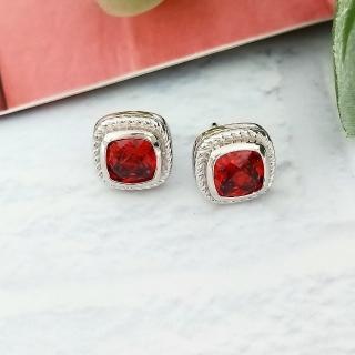 【DoriAN】經典橘紅鑽925純銀耳環(925純銀 CZ鑽 附精美禮盒包裝)  DoriAN