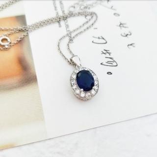 【DoriAN】經典名媛風藍鑽925純銀項鍊(925純銀 CZ鑽 附精美禮盒包裝)  DoriAN