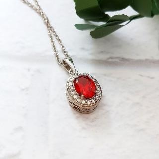 【DoriAN】氣質貴婦橘紅鑽925純銀項鍊(925純銀 CZ鑽 附精美禮盒包裝)   DoriAN