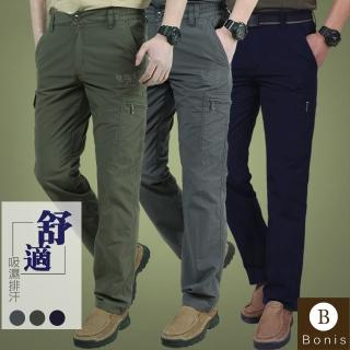 【Boni's】多口袋速乾材質工作休閒褲(軍綠 / 深灰 / 黑)  Boni's