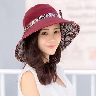 【幸福揚邑】愛心紋大帽檐抗UV防紫外線雙面配戴可摺疊遮陽帽(酒紅)   幸福揚邑