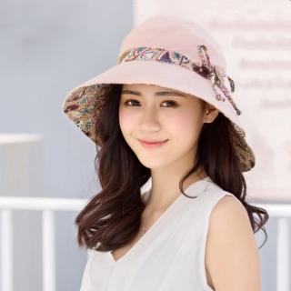 【幸福揚邑】愛心紋大帽檐抗UV防紫外線雙面配戴可摺疊遮陽帽(粉)   幸福揚邑