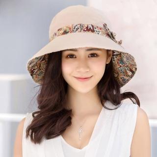 【幸福揚邑】愛心紋大帽檐抗UV防紫外線雙面配戴可摺疊遮陽帽(米)   幸福揚邑