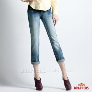【BRAPPERS】女款 Lady Vintage系列-彈性七分漸層反摺褲(漸層藍)  BRAPPERS