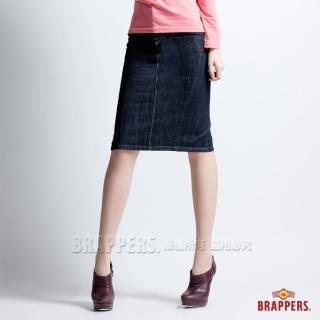 【BRAPPERS】女款 垮裙系列-純棉V型剪接過膝裙(水洗藍)   BRAPPERS