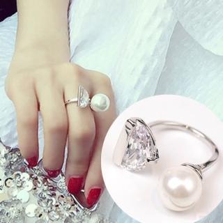 【Quenby】珍珠大鋯石開口食指中指戒指/配件(飾品/配件/銀色)   Quenby