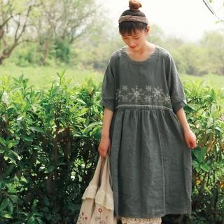 【A.Cheter】全亞麻設計師款-復古雪花刺繡棉麻短袖洋裝102164(2色)好評推薦  A.Cheter