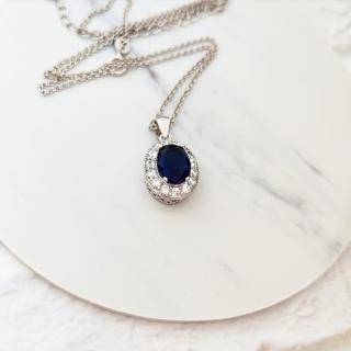 【DoriAN】經典名媛風藍鑽925純銀項鍊(925純銀 CZ鑽 附精美禮盒包裝) 推薦  DoriAN