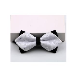 【拉福】高檔尖角領結新郎結婚領結糾糾(兒童 白變形紋)  拉福