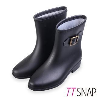 【TTSNAP】雨靴-古典側釦百搭短筒防水靴(黑)  TTSNAP