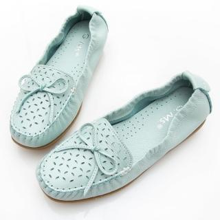 【GMS】MIT系列-軟Q牛皮蝴蝶結沖孔莫卡辛鞋(水藍)  GMS