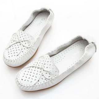 【GMS】MIT系列-軟Q牛皮蝴蝶結沖孔莫卡辛鞋(白色)真心推薦  GMS