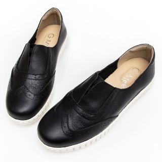 【GMS】MIT系列-牛津免綁帶牛皮白底休閒鞋(黑色)強力推薦  GMS