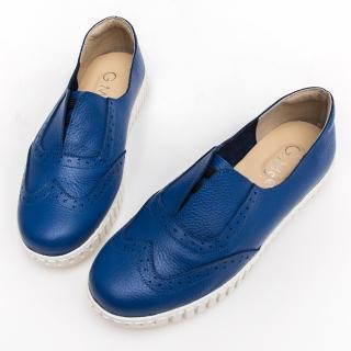 【GMS】MIT系列-牛津免綁帶牛皮白底休閒鞋(藍色)  GMS