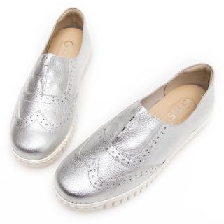 【GMS】MIT系列-牛津免綁帶牛皮白底休閒鞋(銀色) 推薦  GMS
