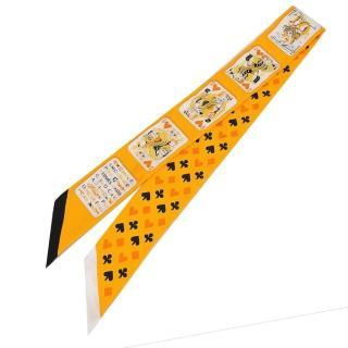 【Hermes 愛馬仕】Jeu de Cartes 撲克牌Twilly絲巾(橘黃)強力推薦  Hermes 愛馬仕