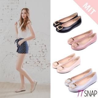 【TTSNAP】娃娃鞋-MIT高雅時尚金屬方釦平底鞋(黑/米/灰/粉)  TTSNAP