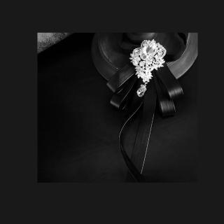 【拉福】大鑽皮質層次結婚領花新郎領結(黑色)  拉福
