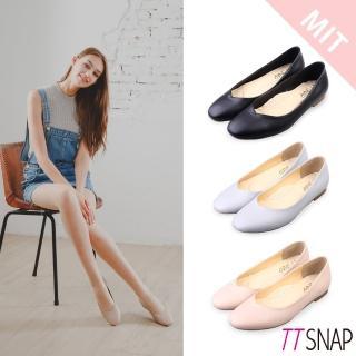 【TTSNAP】娃娃鞋-MIT素面細緻羊紋平底鞋(黑/灰/粉)  TTSNAP