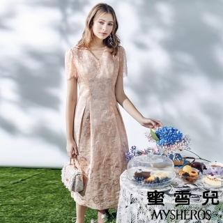 【mysheros 蜜雪兒】V領蕾絲金蔥長版宴會洋裝(金)推薦折扣  mysheros 蜜雪兒