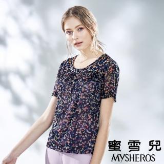 【mysheros 蜜雪兒】彩色點點皺褶彈性上衣(紫)好評推薦  mysheros 蜜雪兒