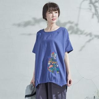 【*KatieQ 慢。生活】花彩刺繡棉麻上衣-F(白/藍)真心推薦  *KatieQ 慢。生活