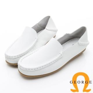 【GEORGE 喬治皮鞋】水洗系列 素面縫線懶人樂福鞋休閒鞋-白  GEORGE 喬治皮鞋