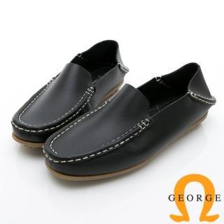 【GEORGE 喬治皮鞋】水洗系列 素面縫線懶人樂福鞋休閒鞋-黑  GEORGE 喬治皮鞋