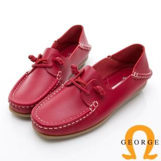【GEORGE 喬治皮鞋】水洗系列 素面繩結大底休閒鞋-紅  GEORGE 喬治皮鞋
