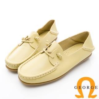 【GEORGE 喬治皮鞋】水洗系列 素面繩結大底休閒鞋-黃  GEORGE 喬治皮鞋