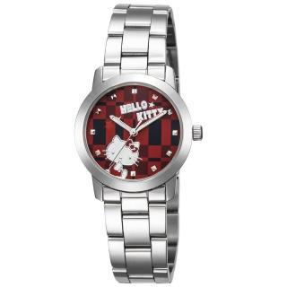 【HELLO KITTY】凱蒂貓繽紛格紋造型手錶(紅 LK683LWRI)  HELLO KITTY