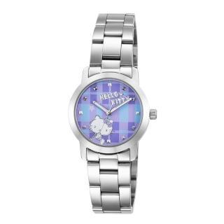 【HELLO KITTY】凱蒂貓繽紛格紋造型手錶(紫 LK683LWVI)  HELLO KITTY