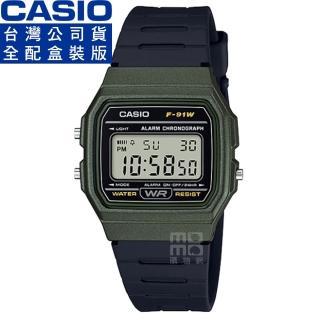 【CASIO 卡西歐】卡西歐鬧鈴方形電子錶-軍綠(F-91WM-3A 公司貨全配錶盒)  CASIO 卡西歐