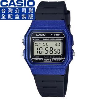 【CASIO 卡西歐】卡西歐鬧鈴方形電子錶-藍(F-91WM-2A 公司貨全配錶盒)真心推薦  CASIO 卡西歐
