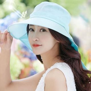 【幸福揚邑】清爽優雅抗UV護頸大帽檐可捲收露馬尾遮陽帽(淺藍)  幸福揚邑