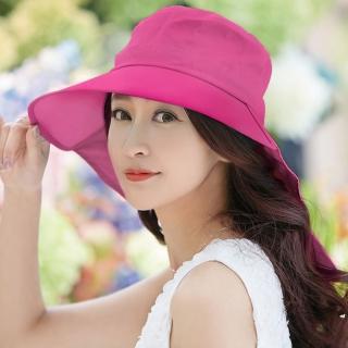 【幸福揚邑】清爽優雅抗UV護頸大帽檐可捲收露馬尾遮陽帽(玫紅)  幸福揚邑