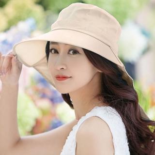 【幸福揚邑】清爽優雅抗UV護頸大帽檐可捲收露馬尾遮陽帽(卡其)  幸福揚邑
