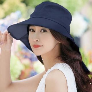【幸福揚邑】清爽優雅抗UV護頸大帽檐可捲收露馬尾遮陽帽(深藍)  幸福揚邑