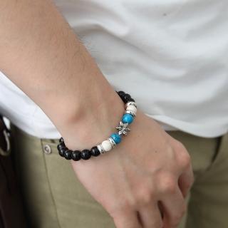 【玖飾時尚】黑色大串珠六角星造型手環手鍊(手環) 推薦  玖飾時尚