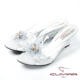 【CUMAR】裸肌美腳楔形跟玻璃鞋(銀)  CUMAR