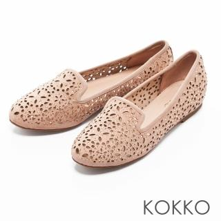 【KOKKO集團】浪漫輕奢感鏤空雕花平底樂福鞋(柔美粉)  KOKKO集團