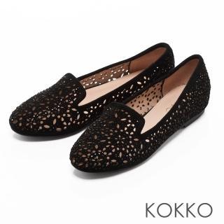 【KOKKO集團】浪漫輕奢感鏤空雕花平底樂福鞋(經典黑)  KOKKO集團
