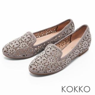 【KOKKO集團】浪漫輕奢感鏤空雕花平底樂福鞋(中性灰)真心推薦  KOKKO集團