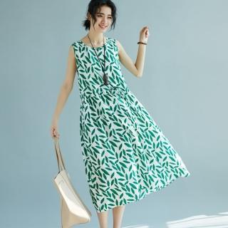 【A.Cheter】棉柔感樹葉印花中長款背心洋裝102219(綠)  A.Cheter