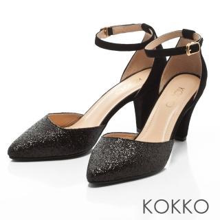 【KOKKO集團】仙履童話尖頭踝帶真皮高跟鞋(晶亮黑)強力推薦  KOKKO集團