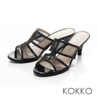 【KOKKO集團】性感透膚網紗璀璨魚口跟鞋(經典黑)推薦折扣  KOKKO集團